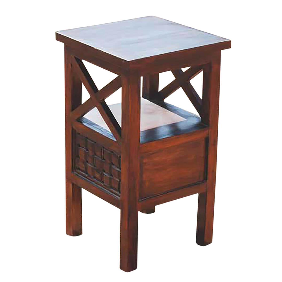 memphis solid wood 1 drawer telephone lamp end table. Black Bedroom Furniture Sets. Home Design Ideas