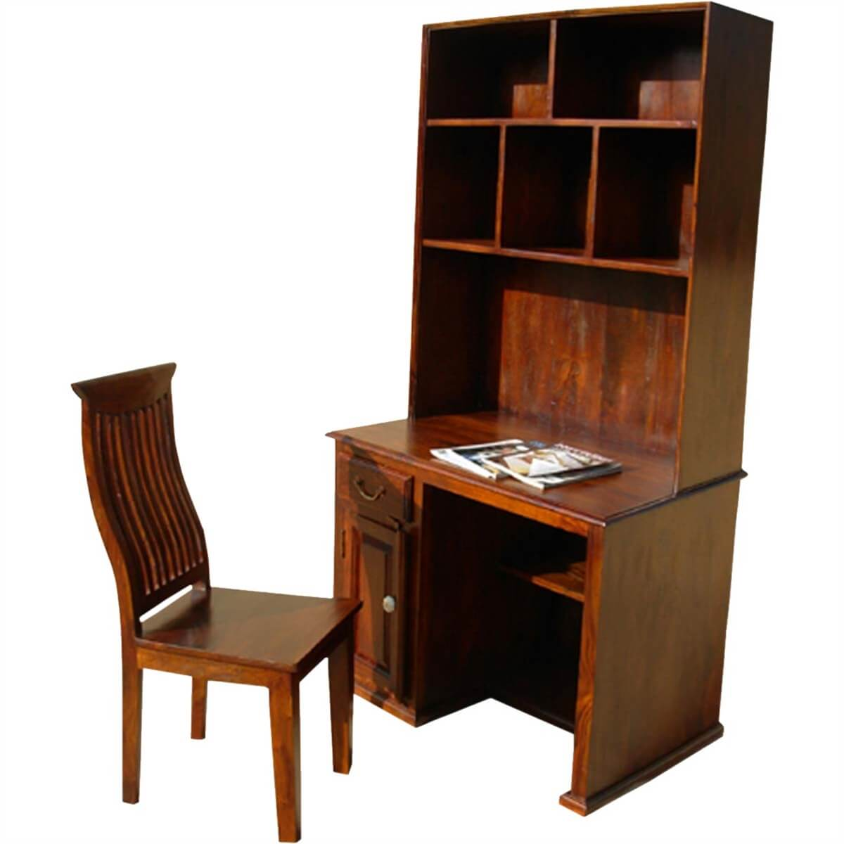 Computer Writing Desk ~ Solid wood study table writing computer desk with hutch