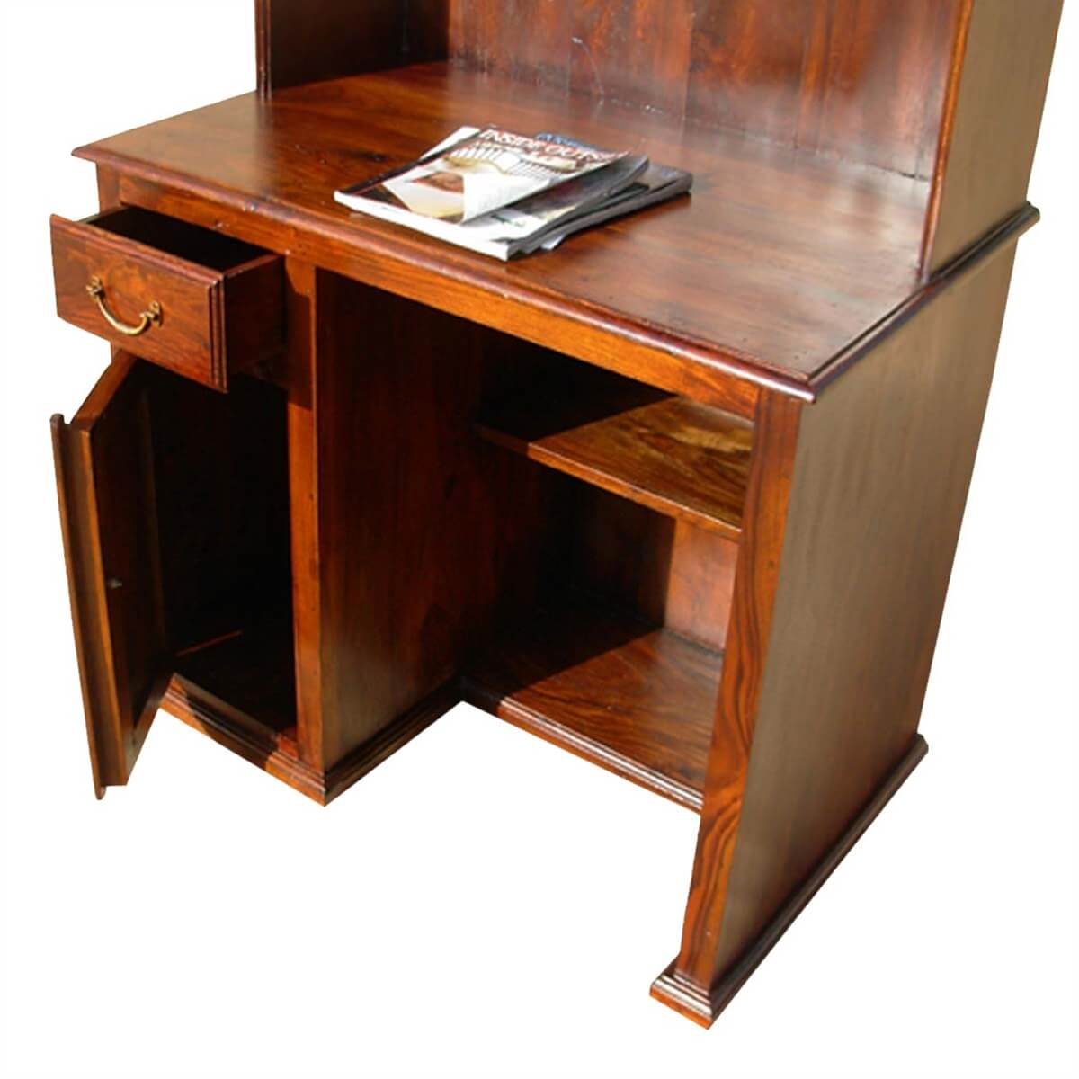 Wooden Computer Desk ~ Solid wood study table writing computer desk with hutch