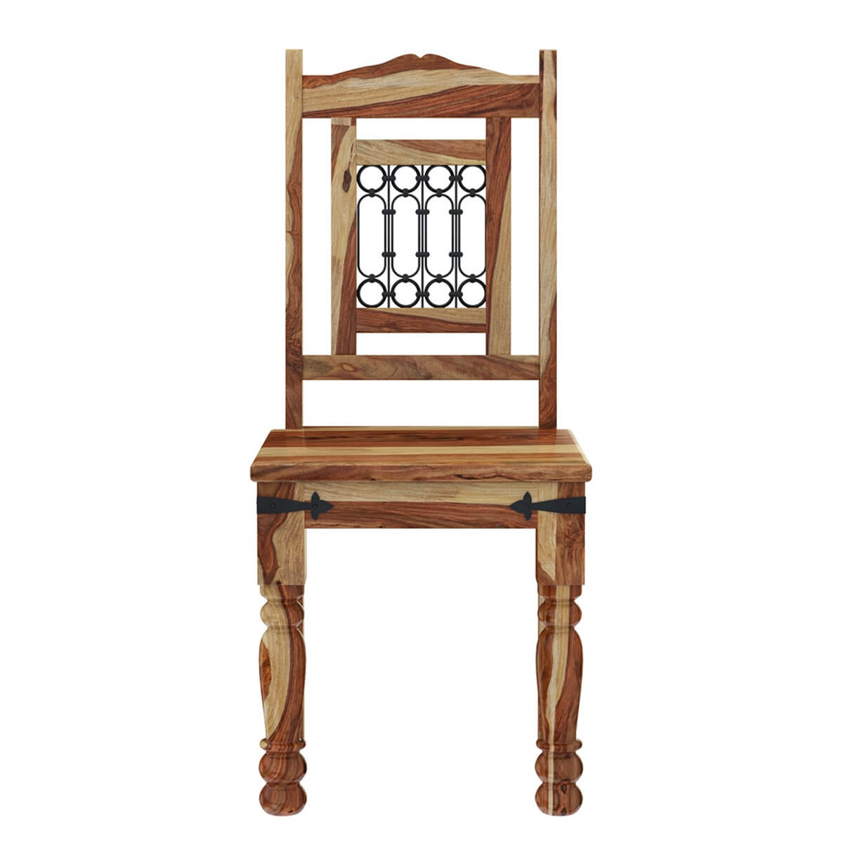 Peoria solid wood wrought iron rustic kitchen dining chair for Iron furniture
