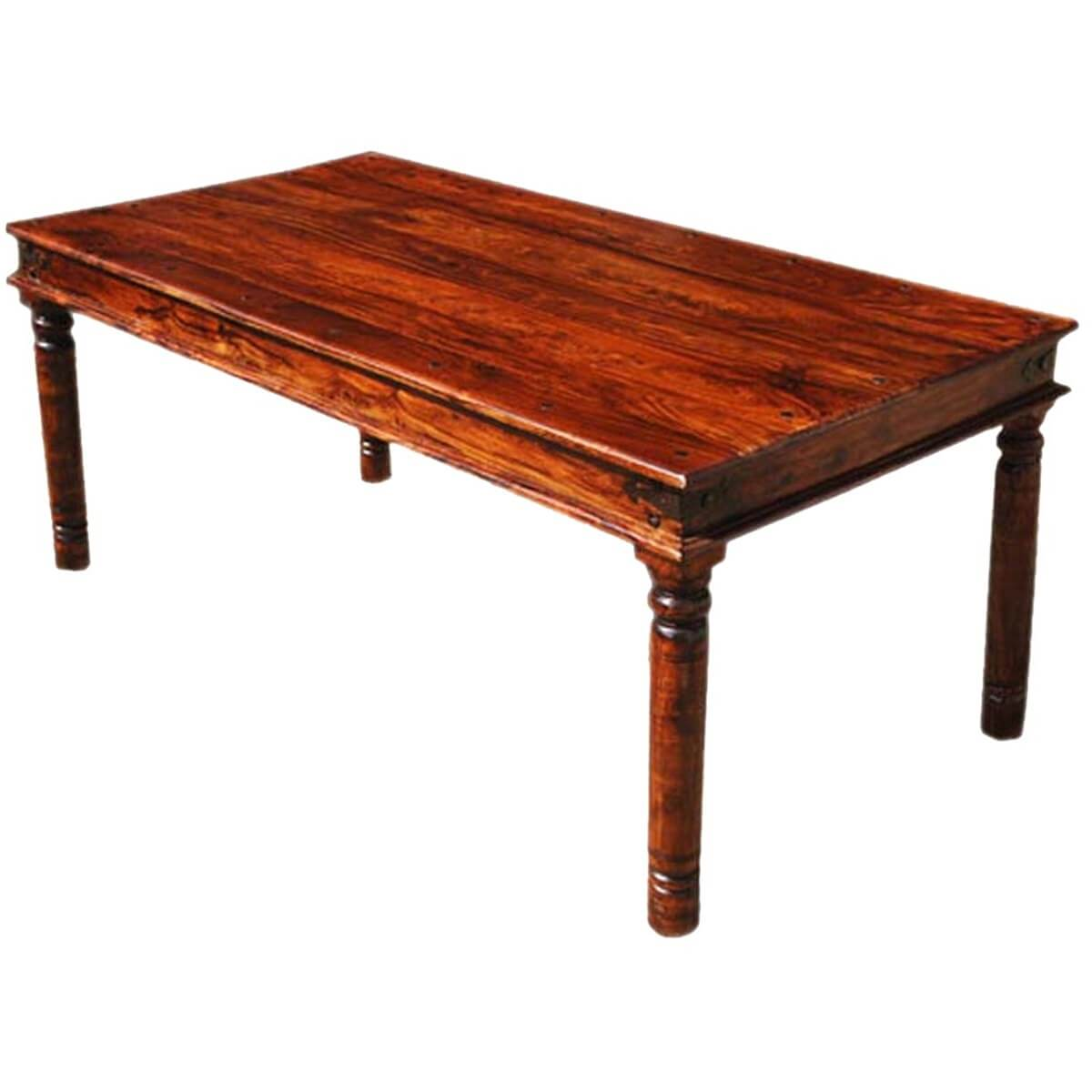 8 Person Square Dining Table: Grogan Rustic Solid Wood Rectangular Dining Table For 8 People