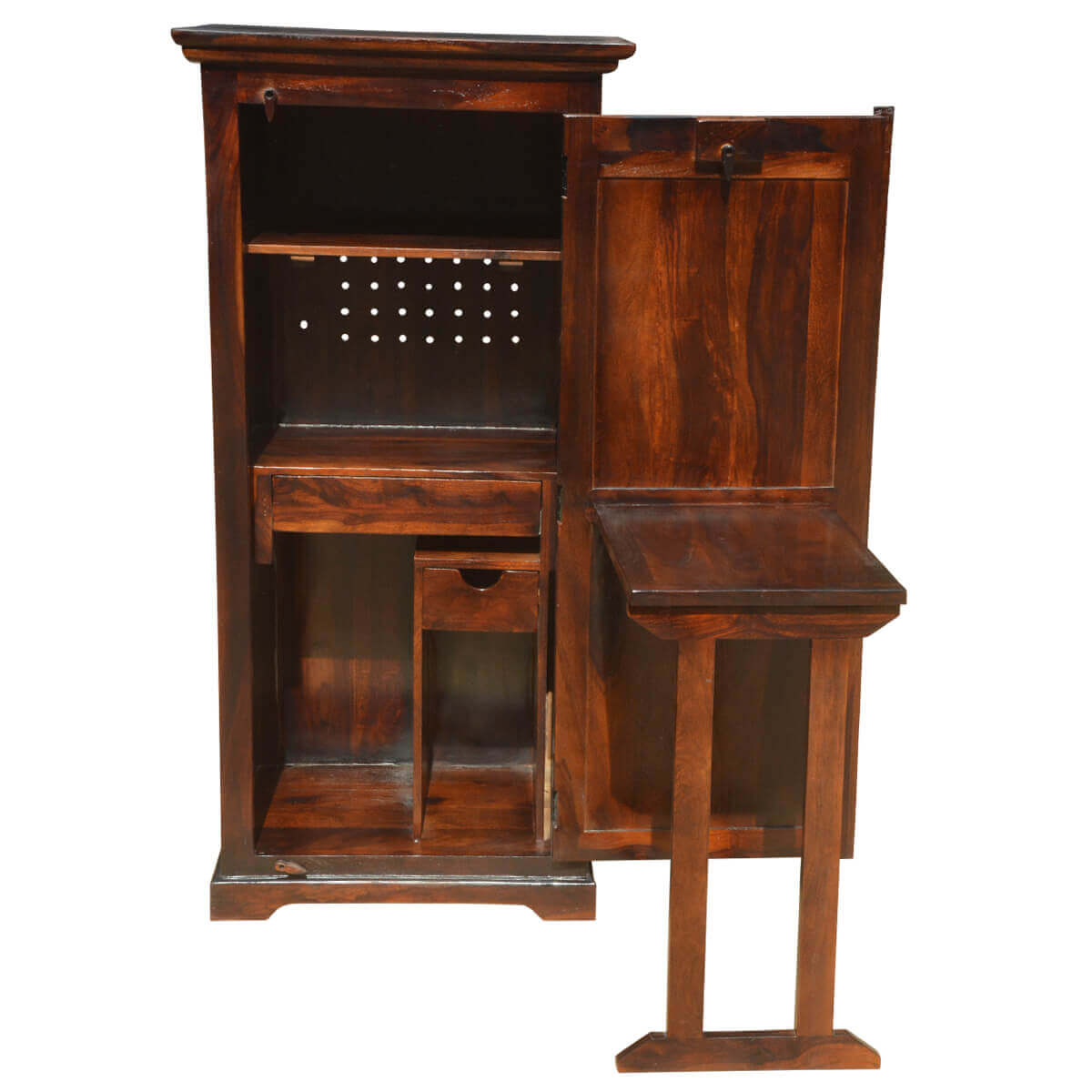 solid wood computer desk with armoire storage cabinet. Black Bedroom Furniture Sets. Home Design Ideas