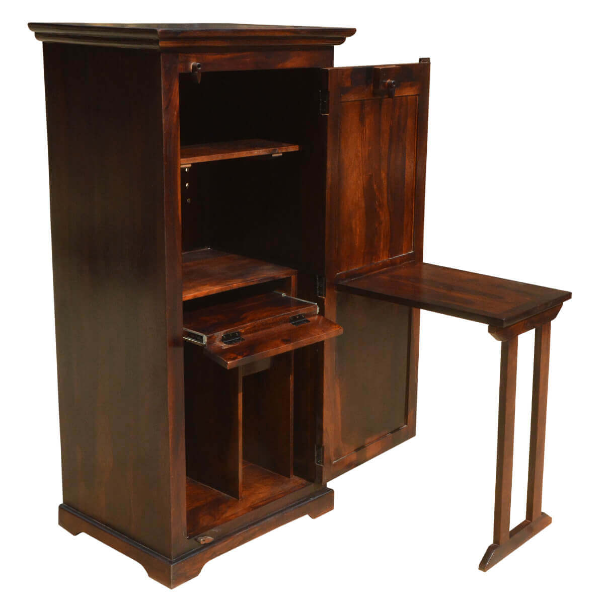 Solid Wood Computer Armoire ~ Solid wood computer desk with armoire storage cabinet