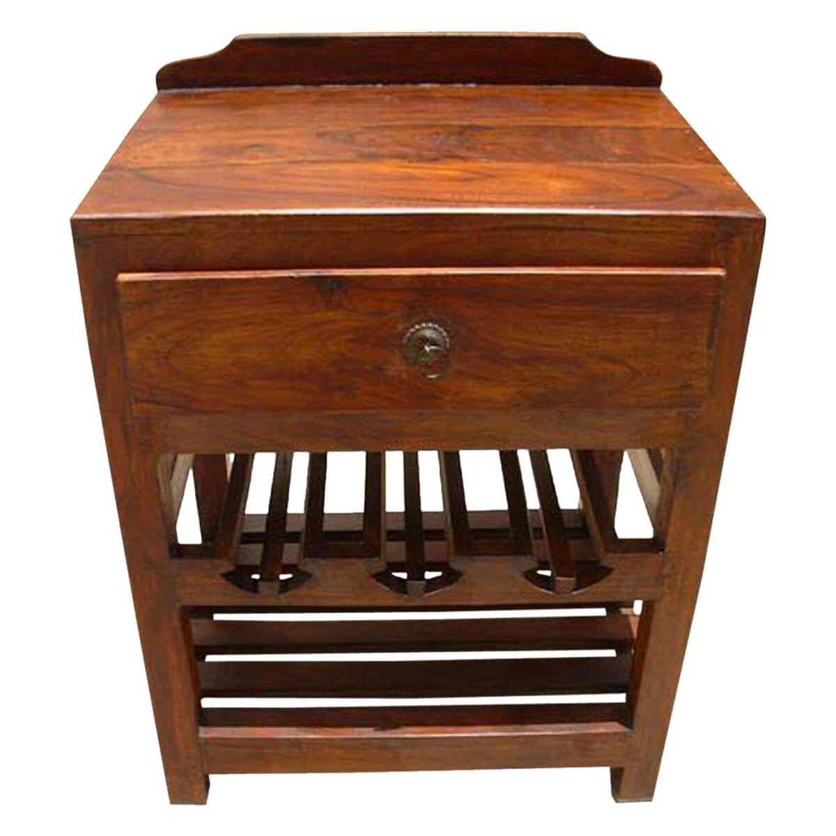 stand with shelves varela solid wood wine rack single drawer side table 2476
