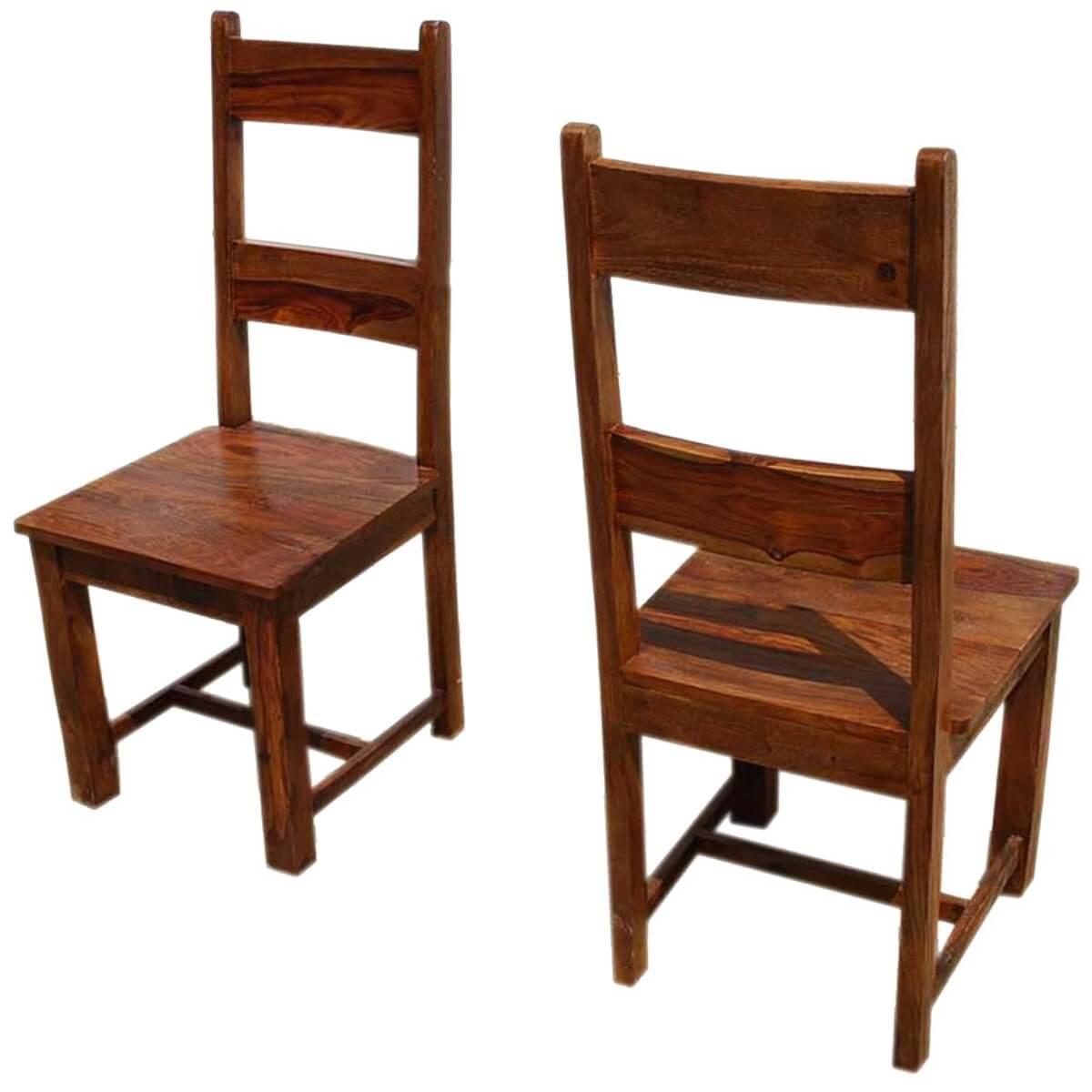 Rustic Mission Santa Cruz Solid Wood Dining Room Set For 4: Santa Cruz Mission Ladder Back Chair Set Of 2