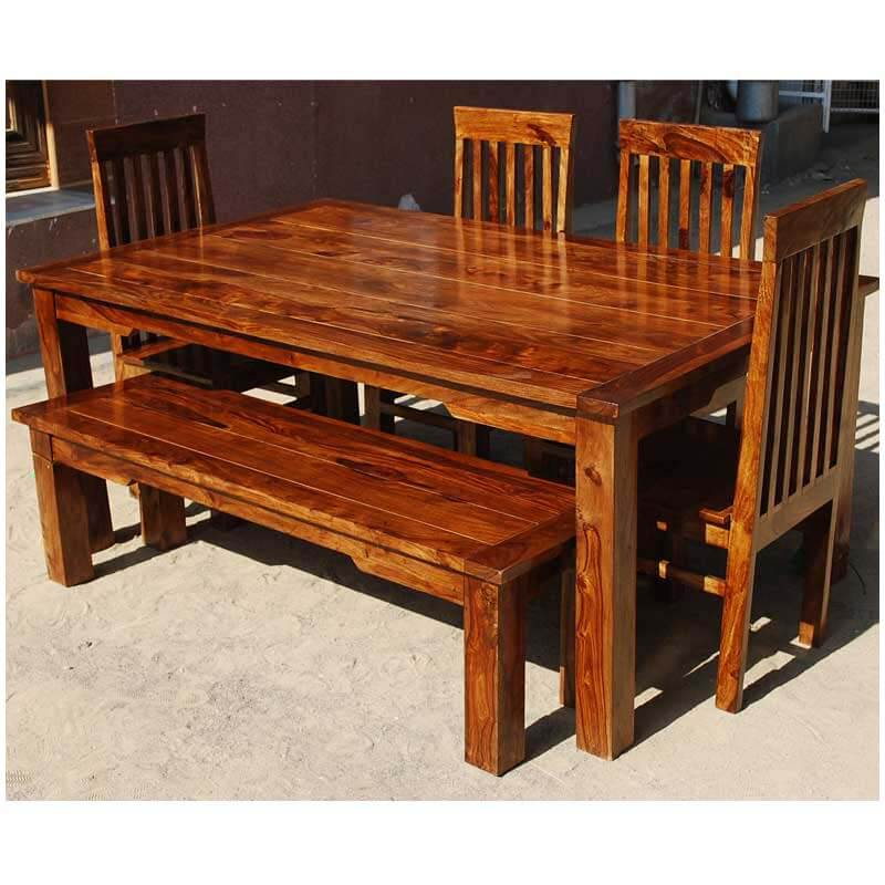 Rustic Solid Rosewood Dining Bench Furniture