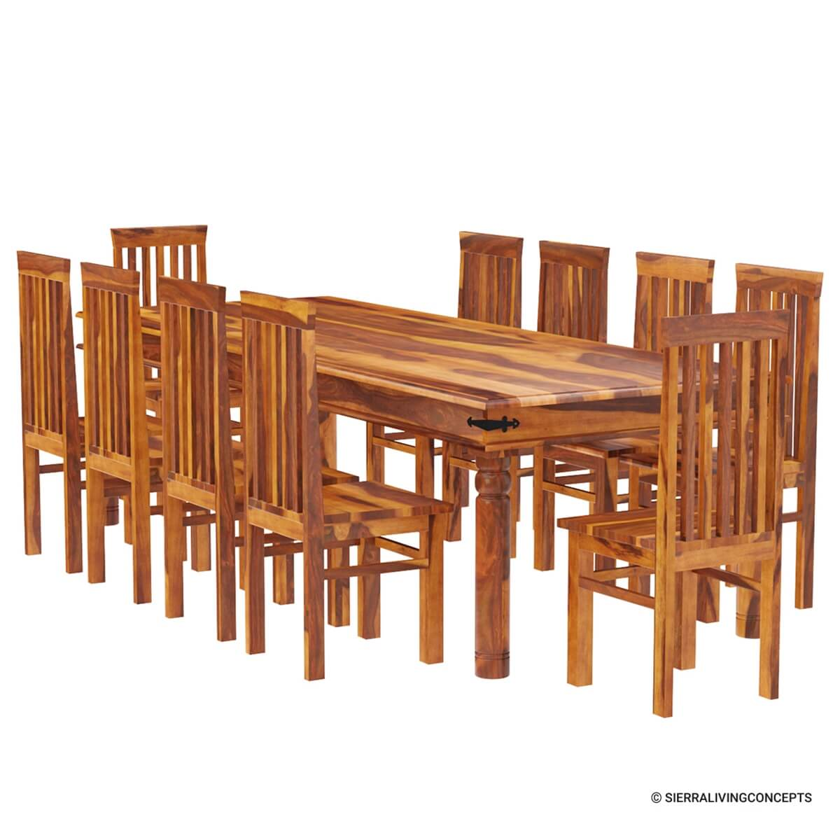 Rustic lincoln study large dining room table chair set for for Dining room sets for 10