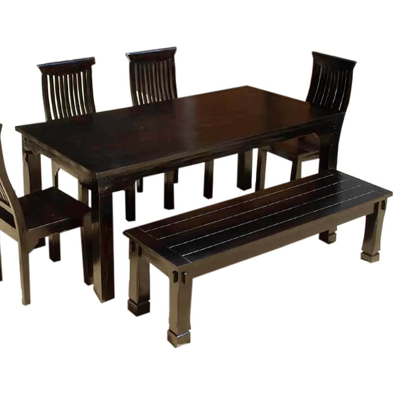 Transitional Solid Indian Rosewood Dining Bench
