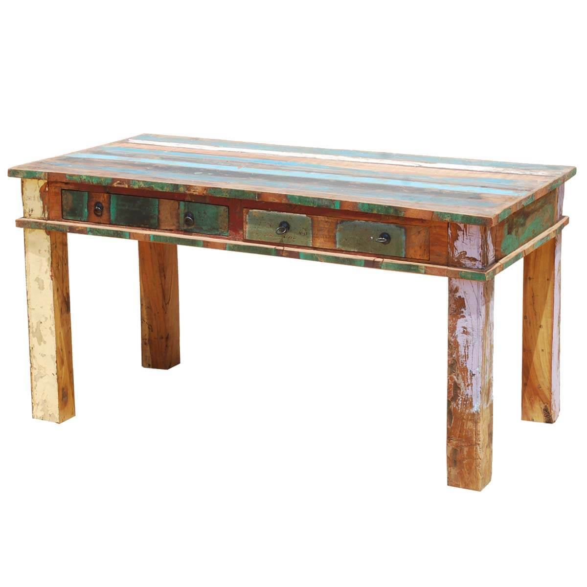 Reclaimed wood rustic dining room table furniture for Reclaimed dining room table