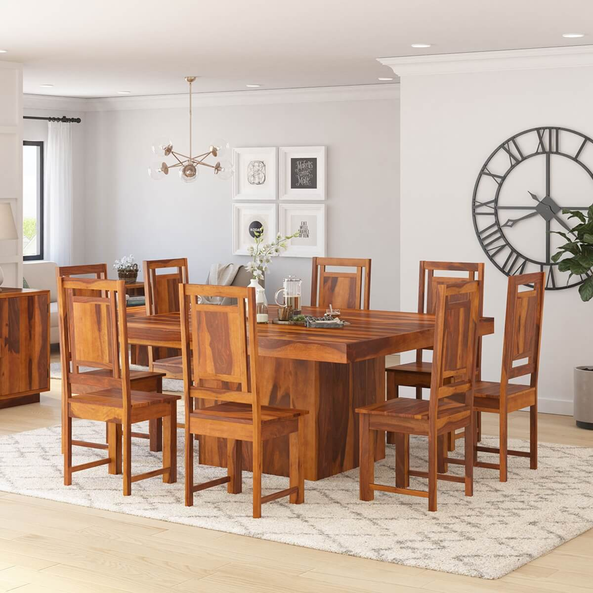 Wood Modern Rustic Block Pedestal Square Dining Table For 8