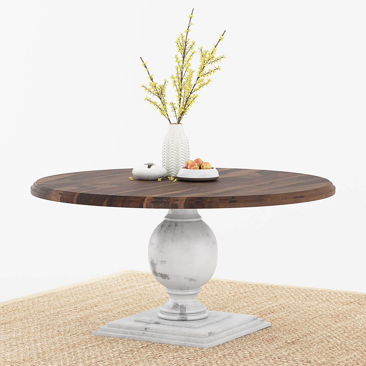 "Round Solid Wood Dining Table: Illinois Solid Wood Rustic Large 72"" Round Dining Table"