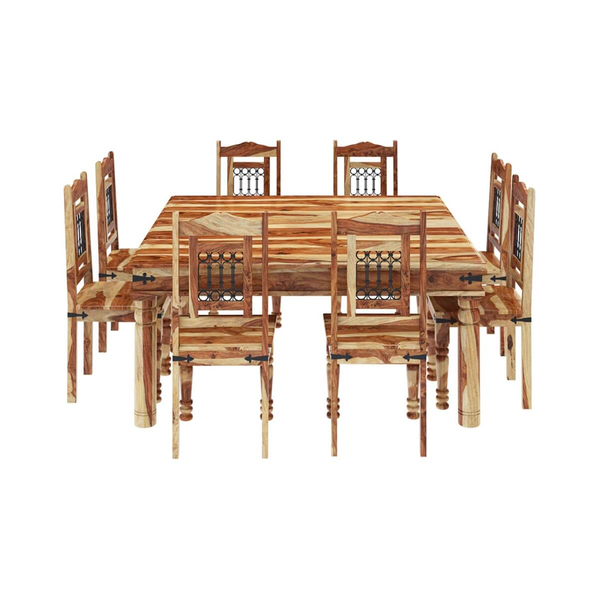 Peoria Solid Wood Large Square Dining Table U0026 Chair Set For 8 People Part 49