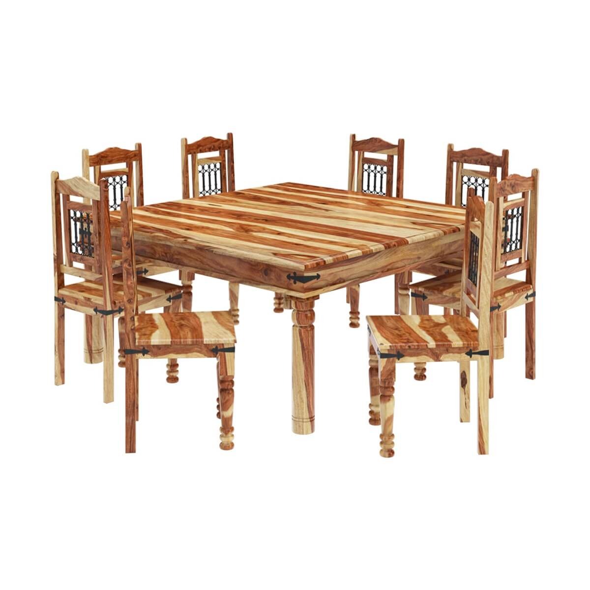 8 Chair Square Dining Table: Peoria Solid Wood Large Square Dining Table & Chair Set