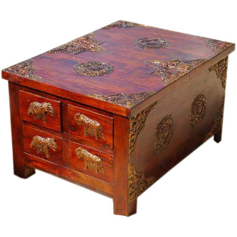 Rustic wood 4 storage drawers brass accent coffee table for Rustic coffee table with drawers