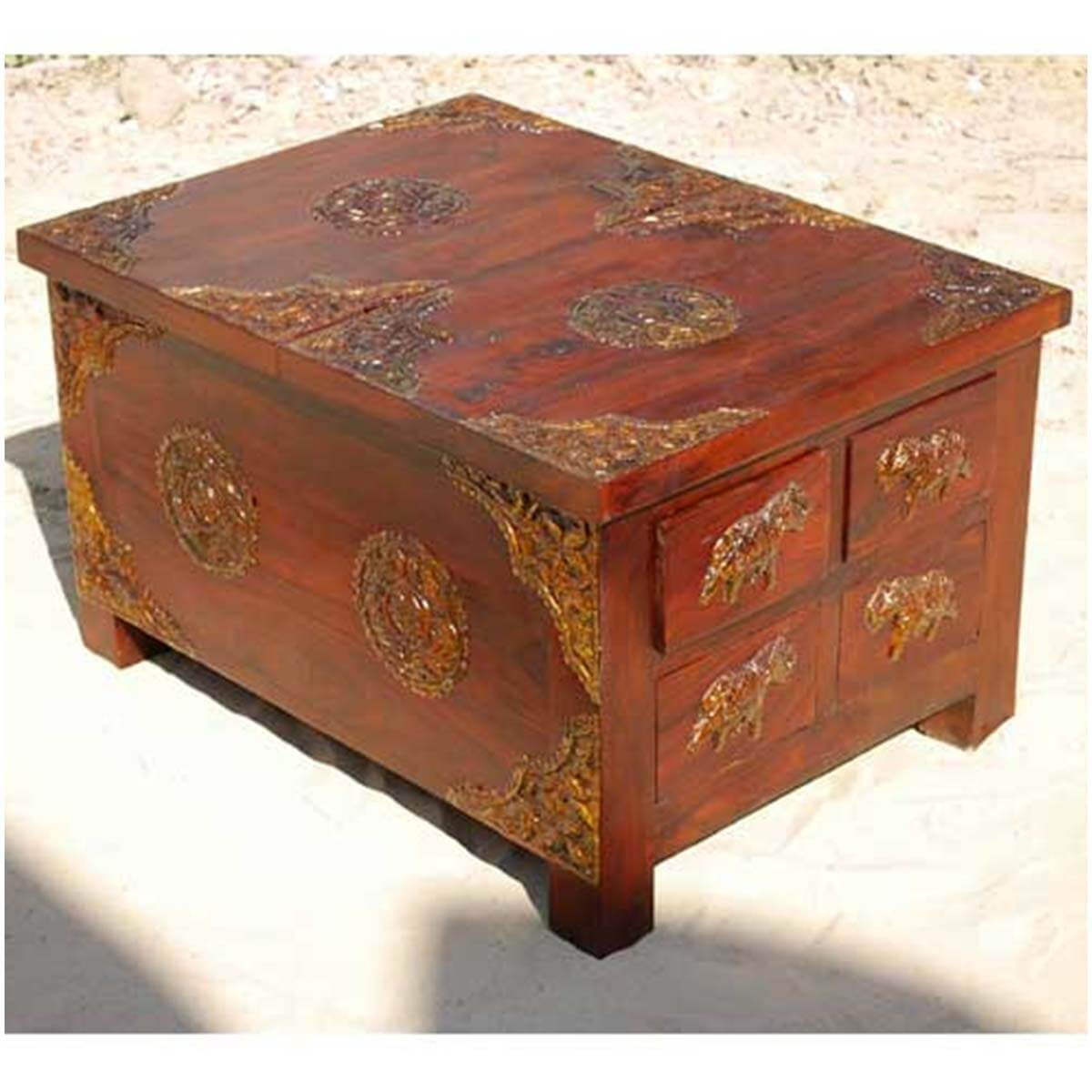 Rustic Wood 4 Storage Drawers Brass Accent Coffee Table