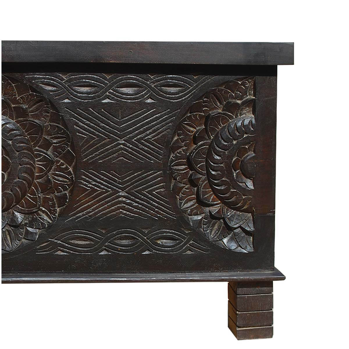 Solid Wood Carved Coffee Table: Langley Solid Wood Elevated Hand Carved Trunk Coffee Table