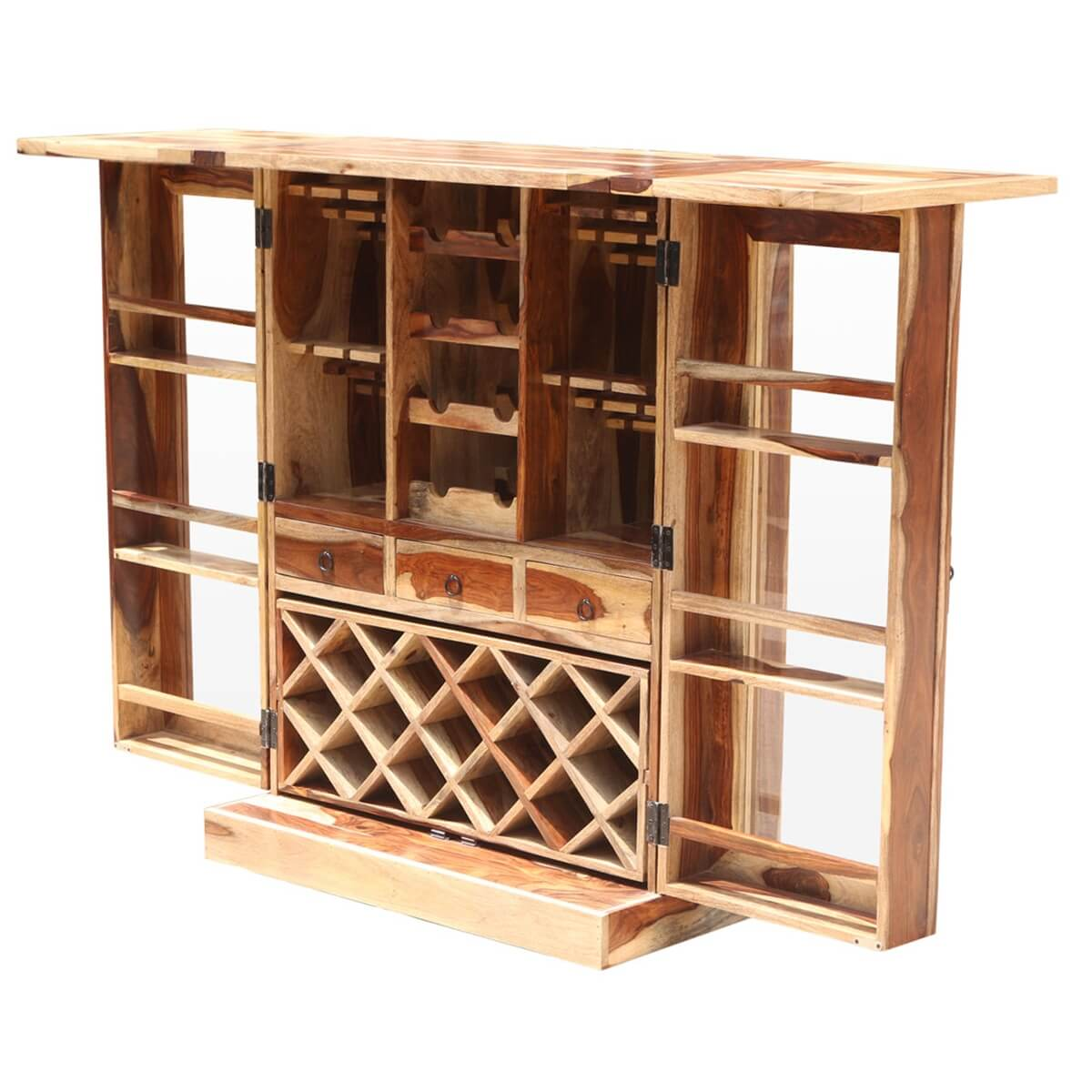 lincoln study solid wood foldout complete wine bar liquor cabinet