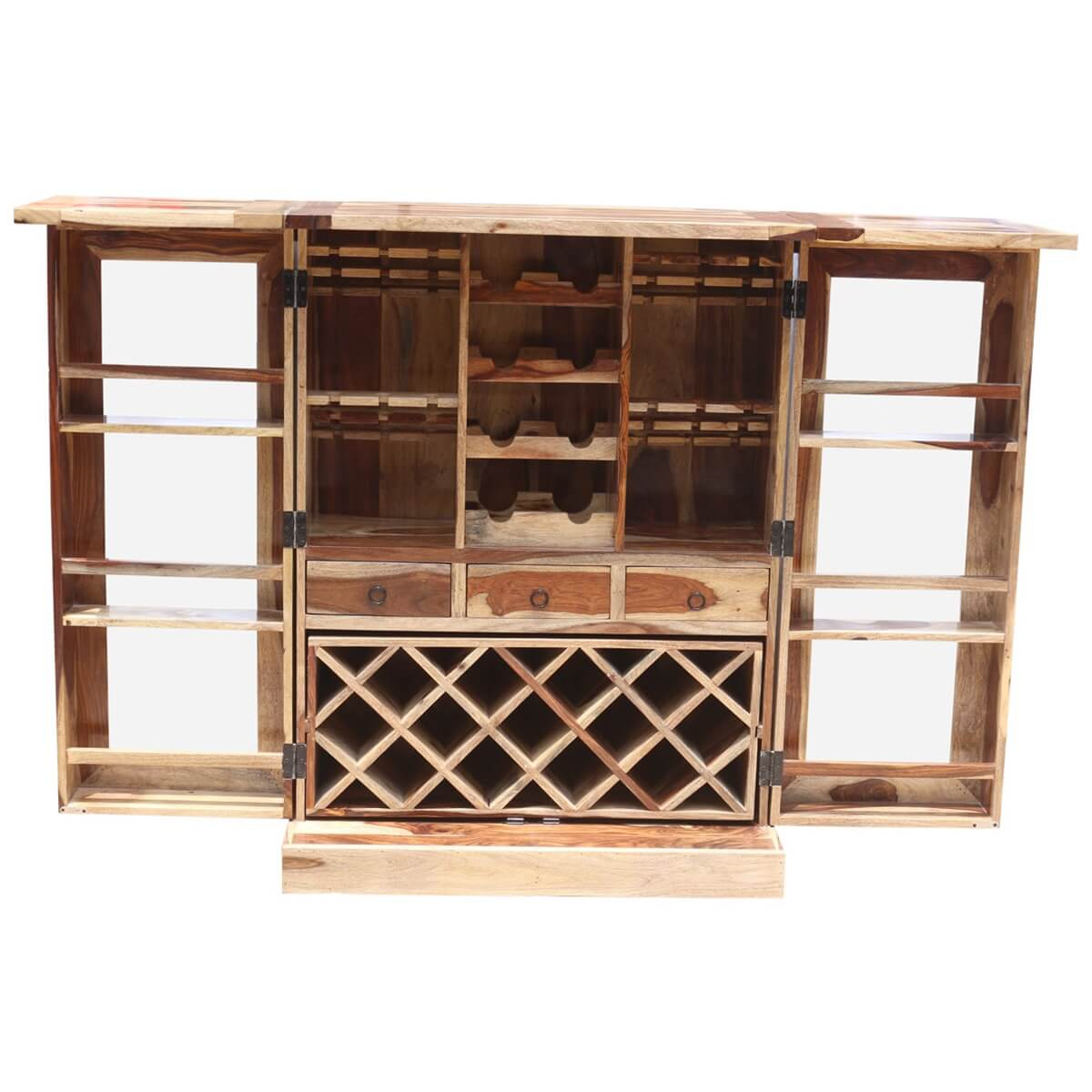 Study Solid Wood Foldout Complete Wine Bar Liquor Cabinet