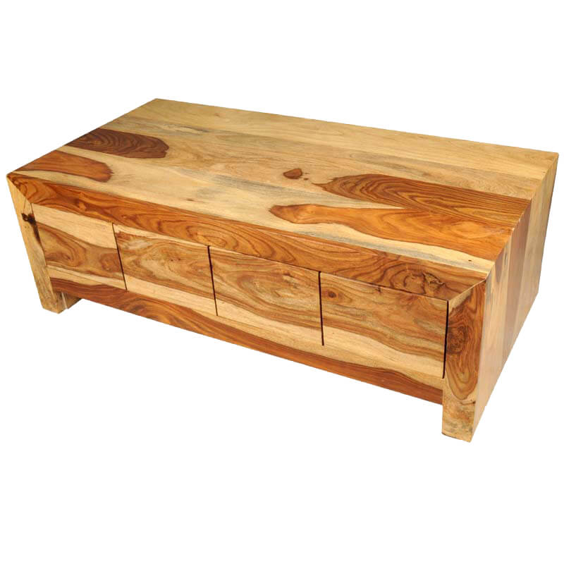 Solid wood contemporary coffee table with storage drawer
