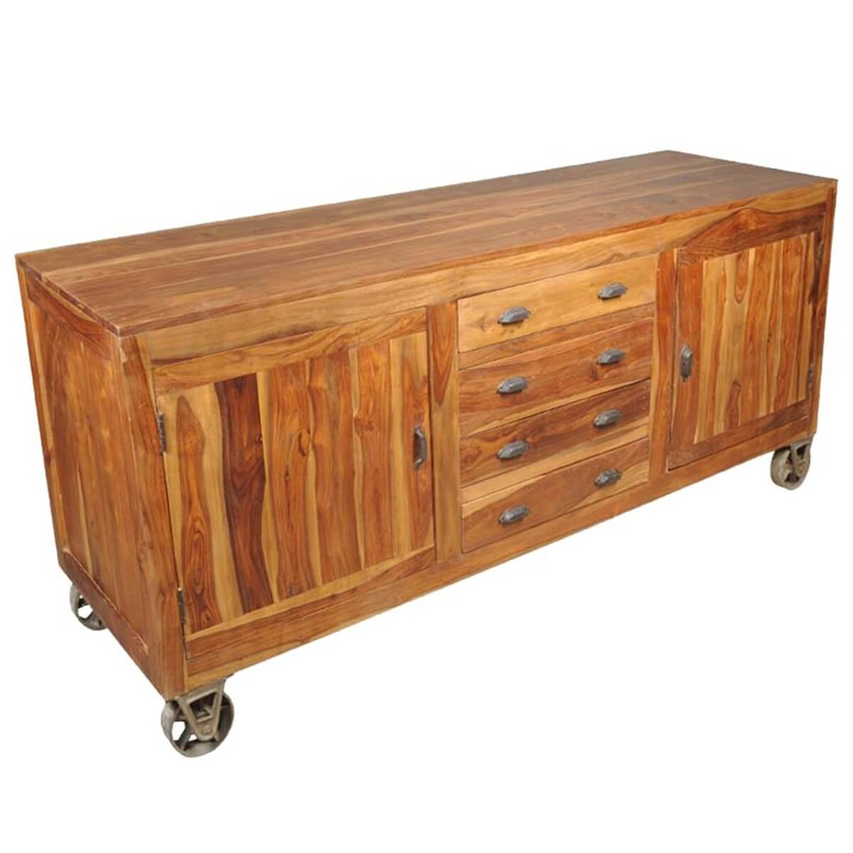 braggville industrial style rustic solid wood 4 drawer sideboard. Black Bedroom Furniture Sets. Home Design Ideas