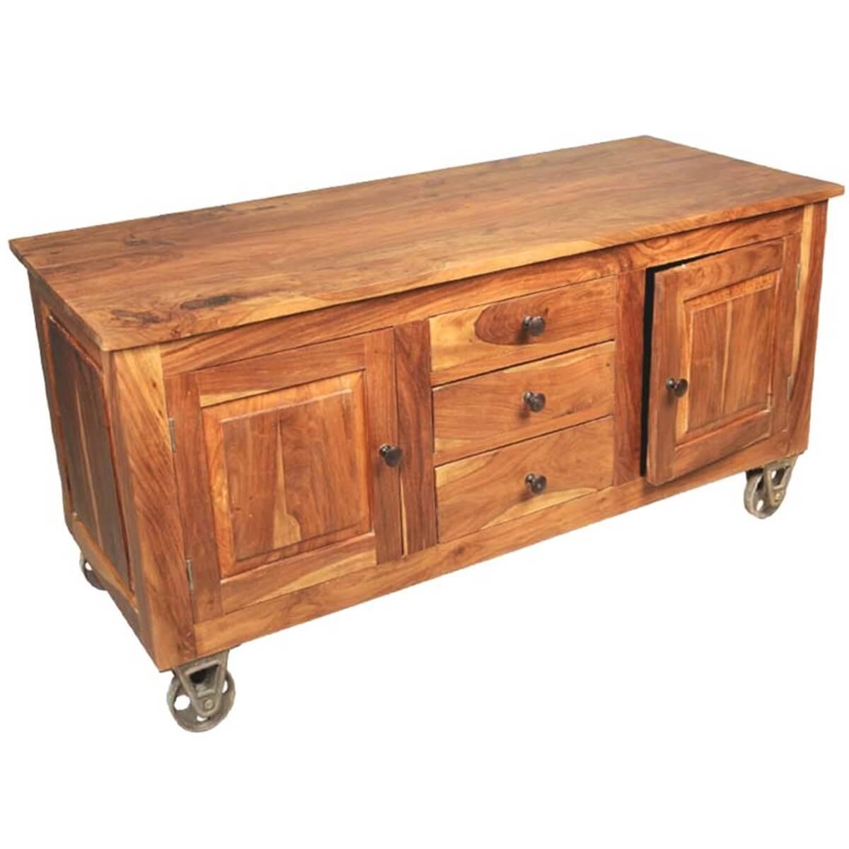oklahoma farmhouse solid wood 3 drawer rolling wheel sideboard