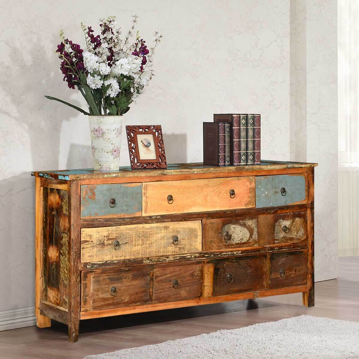 Appalachian Rustic Distressed Reclaimed Wood 7 Drawer Dresser