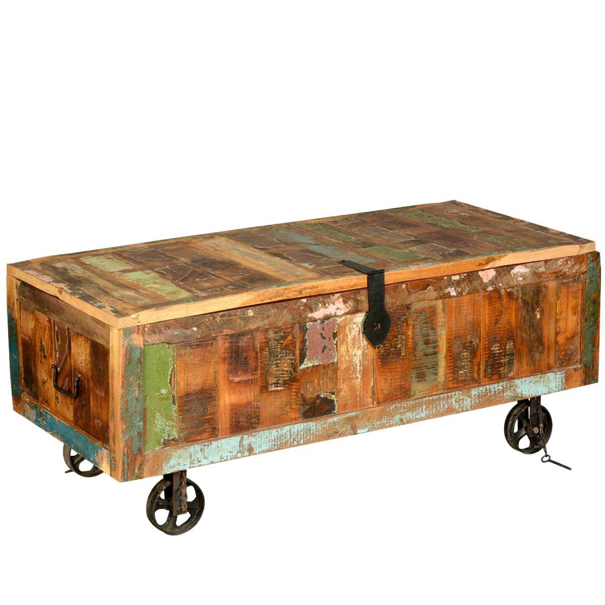 Appalachian Rustic Old Wood Coffee Table Chest on Wheels