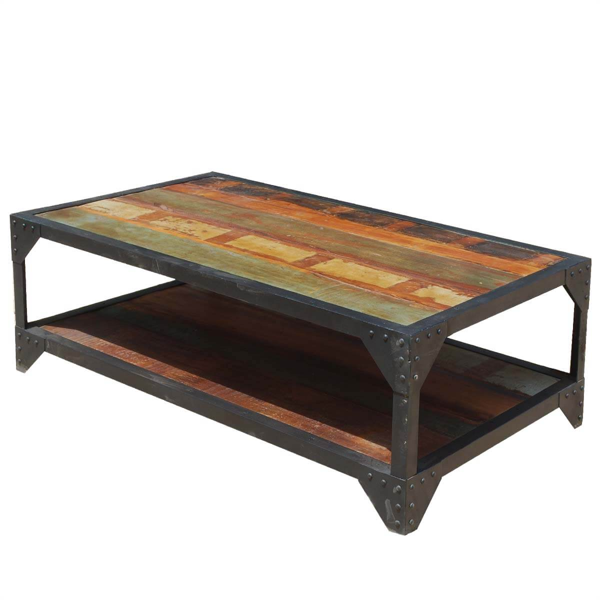 Reclaimed Wood Industrial Coffee Table: Molino Reclaimed Wood 2 Tier Wrought Iron Industrial