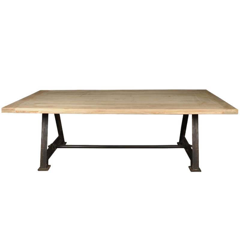 hankin industrial tropical wood and iron double pedestal dining table. Black Bedroom Furniture Sets. Home Design Ideas