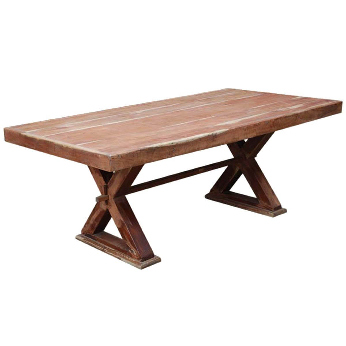 Frisco Modern Solid Wood Rectangular Rustic Dining Room Table: McKay Rustic Solid Wood Double Pedestal Rectangular Dining