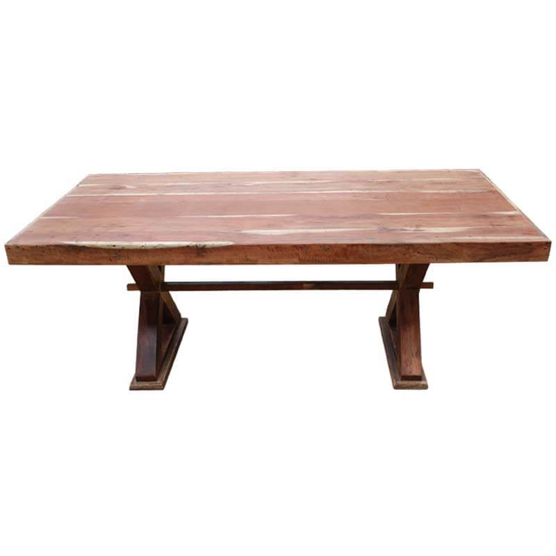 Mckay rustic solid wood double pedestal rectangular dining for Rectangle dining table
