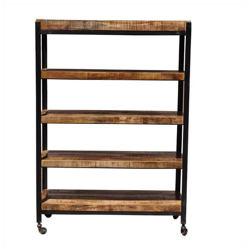 rolling shelf rack industrial 5 shelf iron amp mango wood rolling open rack 25636