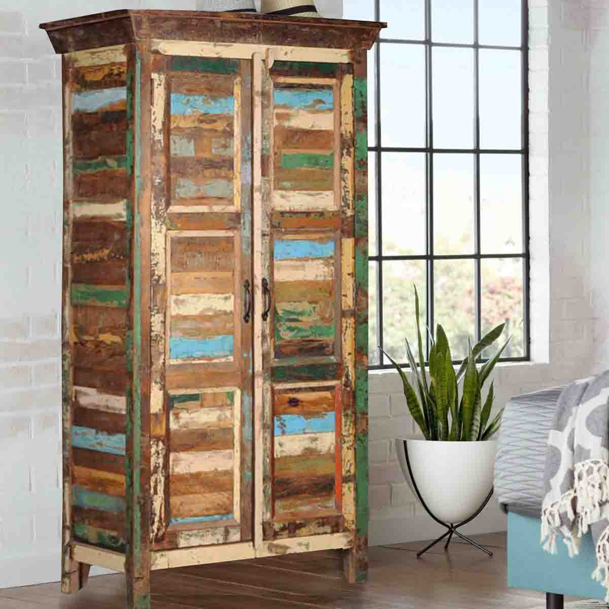 High Quality Appalachian Rustic Old Wood Patchwork Armoire Cabinet