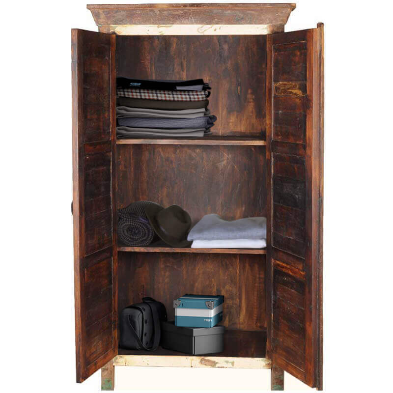 Charming Appalachian Rustic Reclaimed Wood Patchwork Armoire Cabinet
