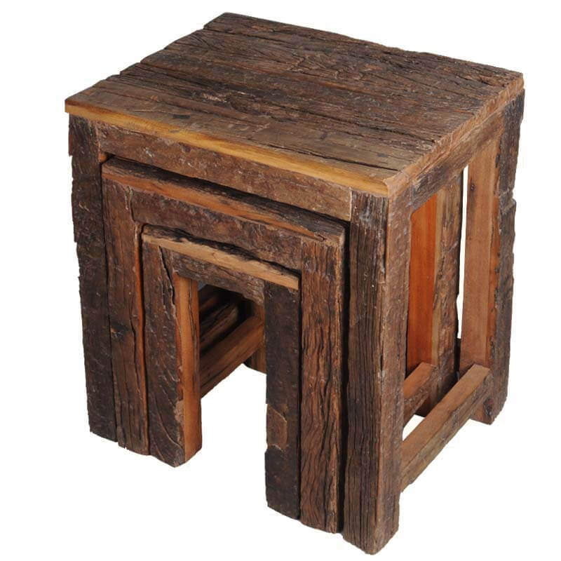Appalachian Rustic Old Wood Railroad Ties 3 Stacking Tables