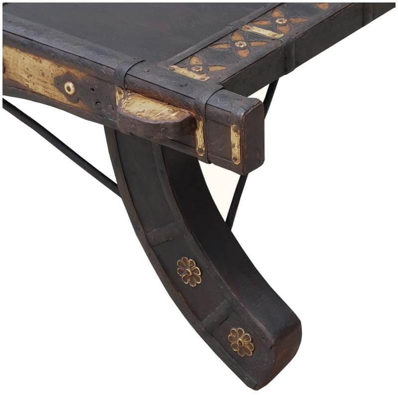 Japanese Square Low Solid Acacia & Brass Cocktail Table