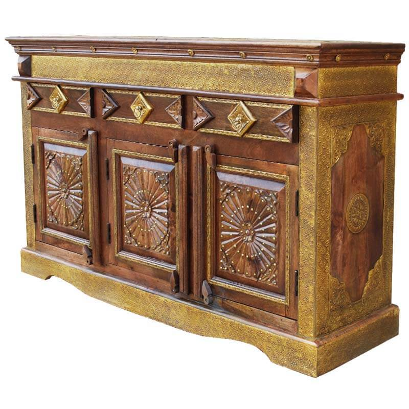 Santa Fe 3 Door Starburst Brass & Mango Wood Sideboard Buffet