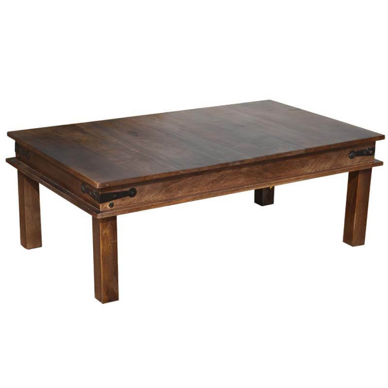 Solid Wood Espresso Coffee Table W Wrought Iron