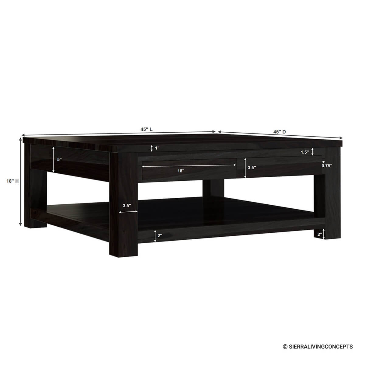 Rosewood Classic Square Espresso Coffee Table