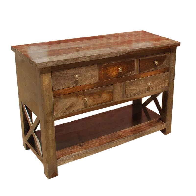 Portland solid wood 4 storage drawer console foyer table Console tables with storage