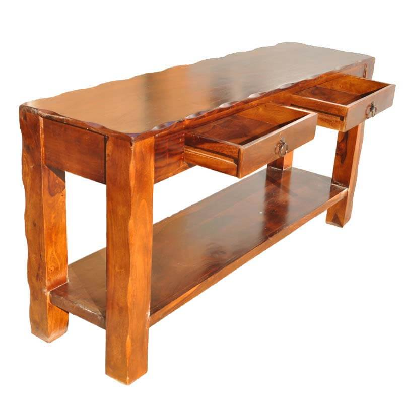 Foyer Console Questions : Appalachian rustic solid wood hall console table with drawers