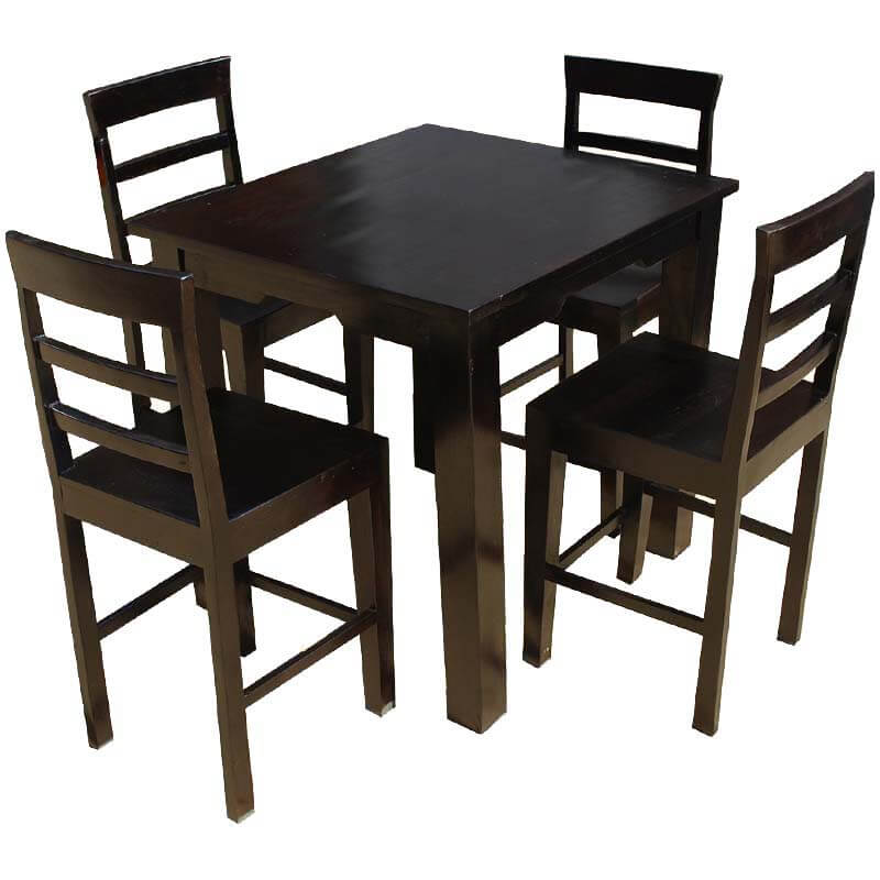 Solid wood counter height dining table chairs set for Solid wood dining table sets