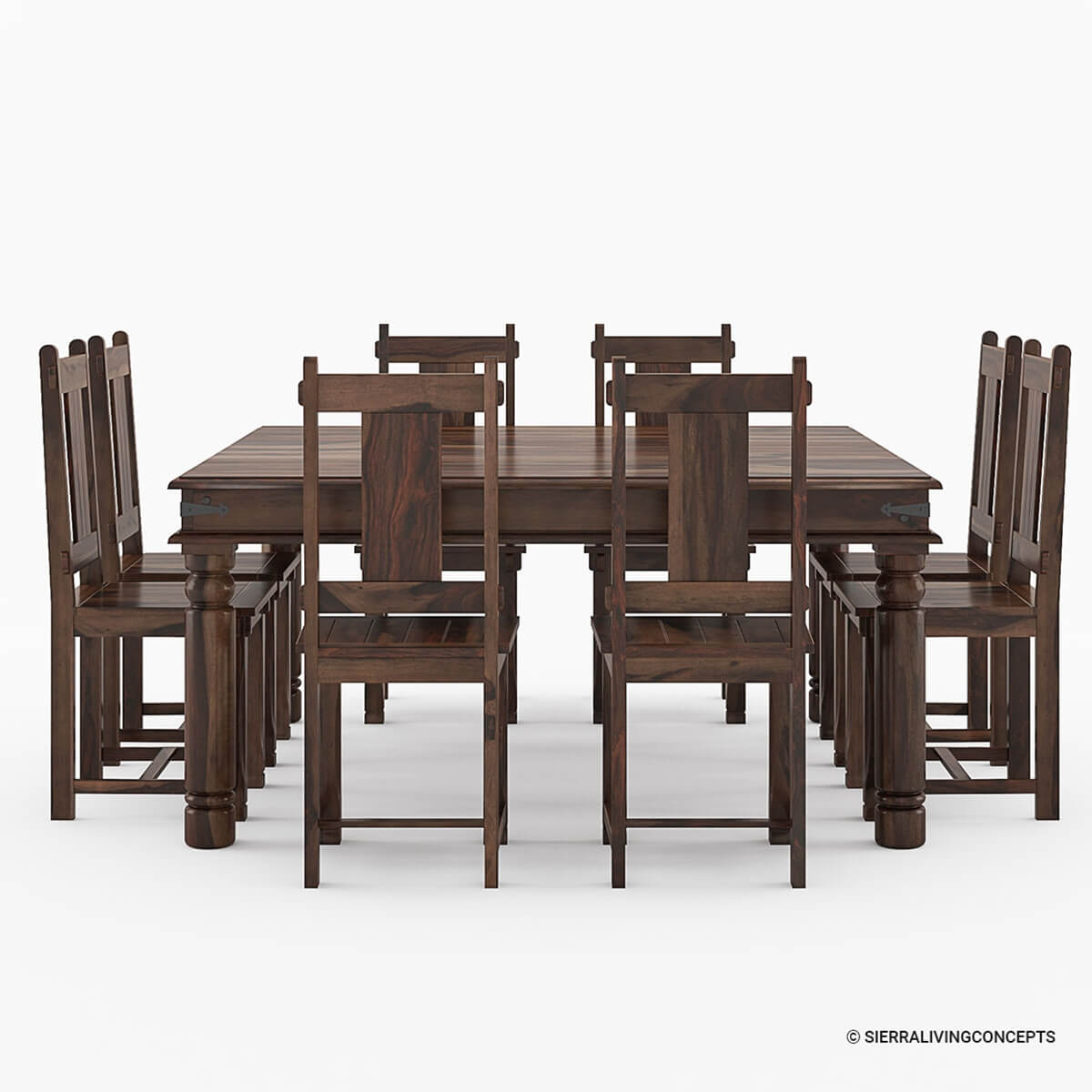 Richmond rustic solid wood large square dining room table for Solid wood dining table sets