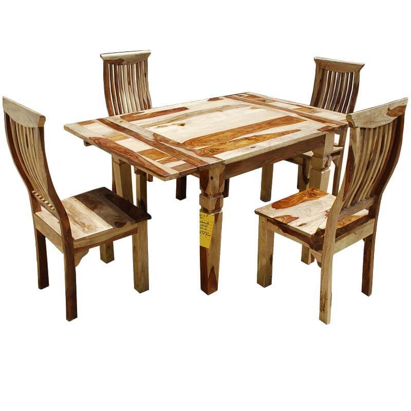 Dallas Ranch Solid Wood Rustic Dining Table Chairs Hutch Set: Dallas Ranch Ergonomic 5pc Square Dinette Set W Extensions
