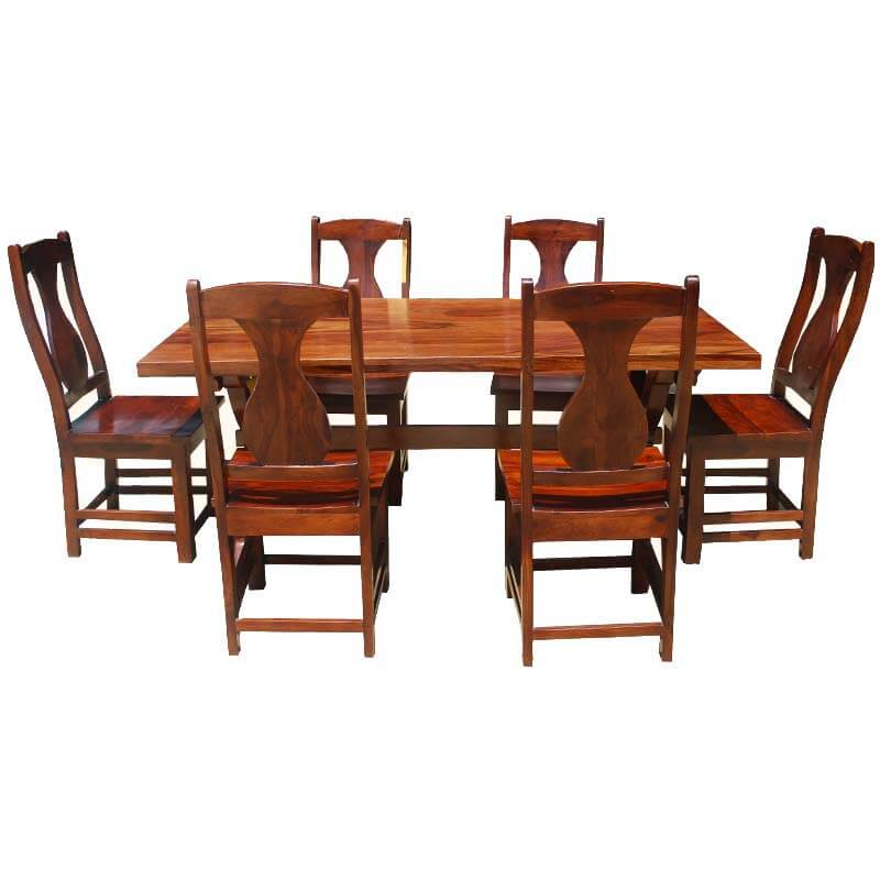 Solid Wood Table And Chairs: 7 Piece Solid Wood Double Pedestal Dining Table And Chair Set