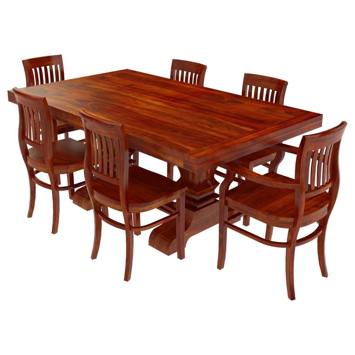 siena solid wood trestle pedestal dining table barrel back chair set. Black Bedroom Furniture Sets. Home Design Ideas