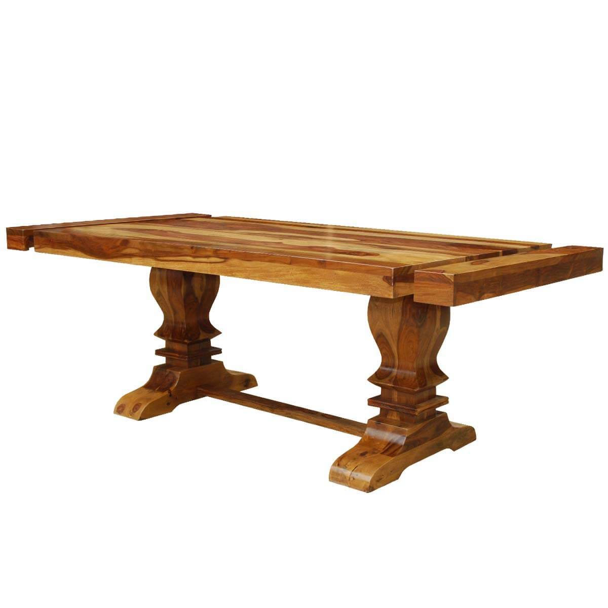 Dallas ranch double pedestal trestle dining table w extensions for Double pedestal dining table plans
