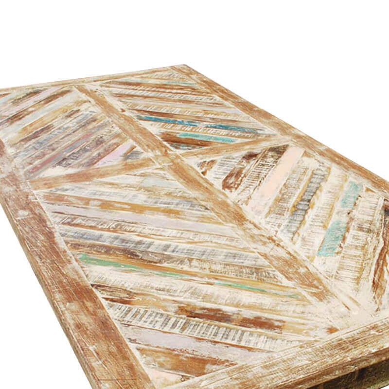 Tucson Rainbow Rustic Reclaimed Wood Parquet Top Dining Table
