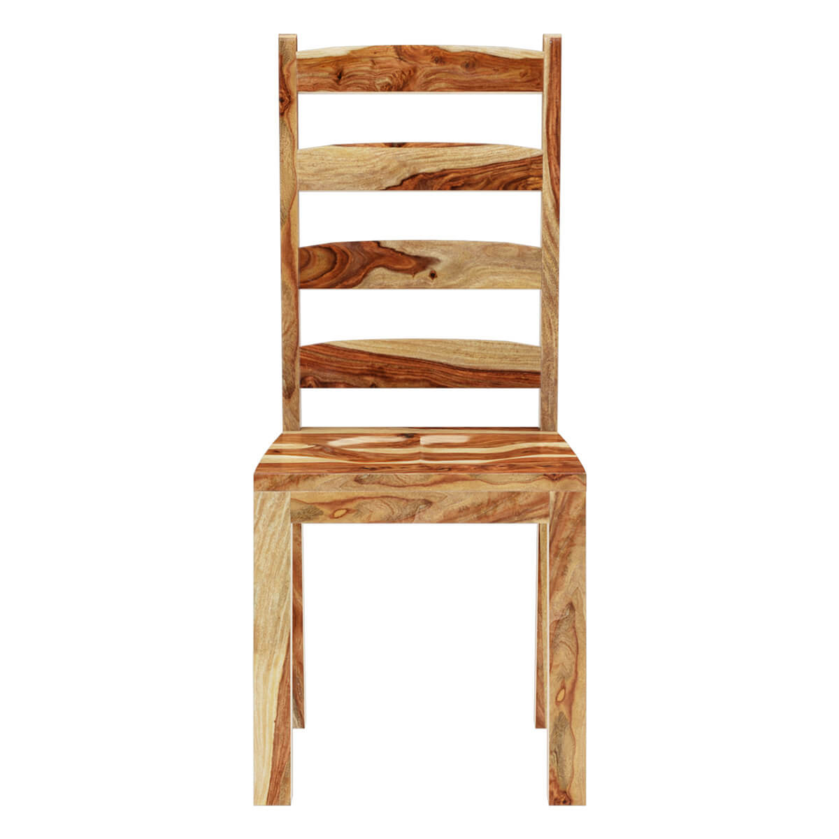 Oklahoma Rustic Solid Wood Ladder Back Chairs 2pc Set