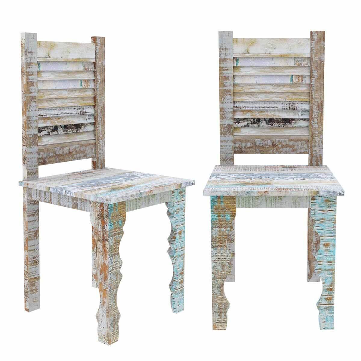 Oklahoma Rustic Reclaimed Wood Shutter Back Dining Chair (Set of 2) - Rustic Reclaimed Wood Furniture Dining Table & Shutter Back Chair Set